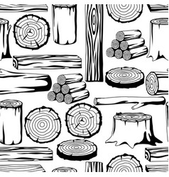 Seamless pattern with wood logs trunks and planks vector