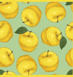 seamless pattern yellow apples vector image