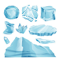 set isolated ice caps snowdrifts and icicles eleme vector image
