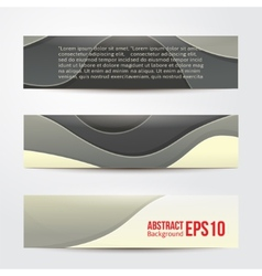 Set of abstract grey banners three background vector