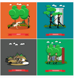 Set of military square posters in flat vector