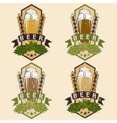 Set of vintage beer labels vector