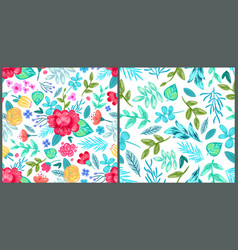 set of wallpapers with pencil drawn flowers vector image