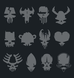 set scary monsters skull characters vector image