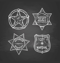 Sheriff stars on blackboard vector