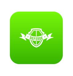 shield knight icon green vector image