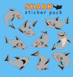 sticker set funny cartoon style cute sharks vector image