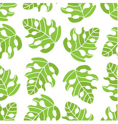 Tropic monstera leaves seamless pattern ill vector