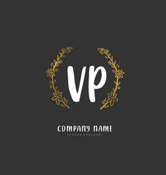 V p vp initial handwriting and signature logo vector
