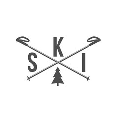 vintage skiing label badge and design elements vector image