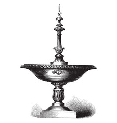 Water fountain foliage vintage engraving vector