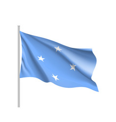 Waving flag federated states micronesia vector