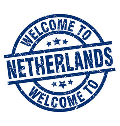 Welcome to netherlands blue stamp vector