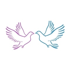 White Doves as concept Love or Peace Abstract vector