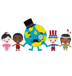 earth and kids holding hands vector image