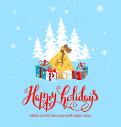 gifts happy holiday card vector image