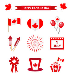 happy canada day icons set design elements flat vector image vector image