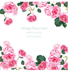 invitation card with watercolor vintage roses vector image vector image