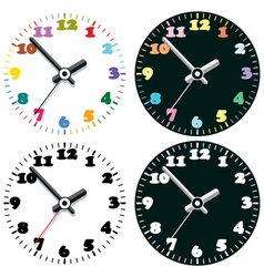 set of colorful clocks vector image