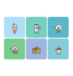 set of flat street food icons deserts sweets cute vector image vector image