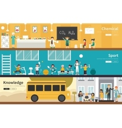 Chemical Sport Knowledge flat school interior vector image vector image