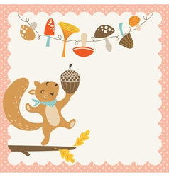 Cute autumn squirrel vector image vector image
