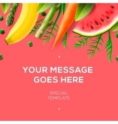 Fresh fruit and vegetables restaurant menu vector image