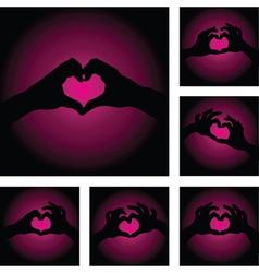 hands heart set vector image vector image