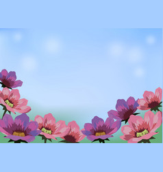 image with flowers blue sky and place for text vector image