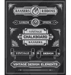 Retro Banner and ribbon blackboard design set vector image vector image