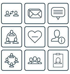 set of 9 social network icons includes teamwork vector image vector image