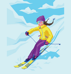 young active woman skiing in mountains vector image