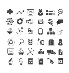 business analytics and industry icons set vector image vector image
