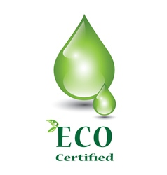 Eco certified green droplets vector image vector image