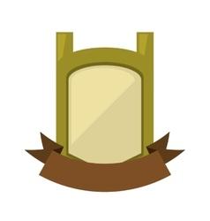 green vintage shield emblem with brown ribbon vector image