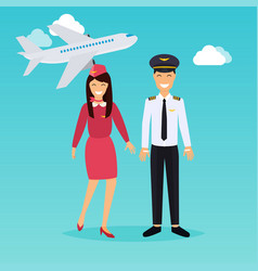 pilot and stewardess in uniform in flat design vector image