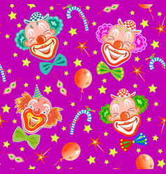 seamless pattern with clowns on purple vector image vector image