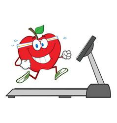 healthy red apple cartoon character running vector image vector image