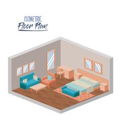 isometric floor plan of hotel bedroom interior vector image
