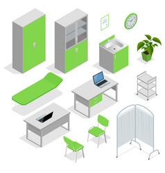 isometric set of hospital equipment and furniture vector image vector image