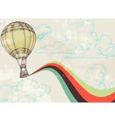 Retro hot air balloon vector