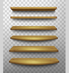 Set of wooden shelves on a transparent background vector image vector image