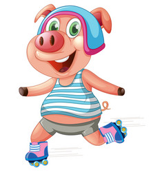 a pig playing roller skating vector image
