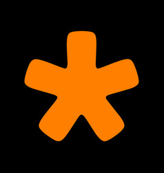 Asterisk star sign orange icon on black vector