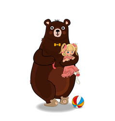 Bear hug and holding in paws little baby girl vector