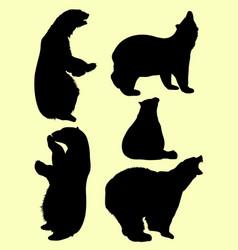 bears animal silhouette vector image