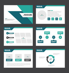 Blue green presentation templates infographic set vector