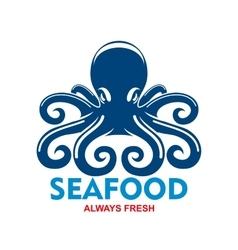 Blue pacific octopus icon for seafood menu design vector image