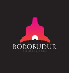 Borobudur ancient buddhist temple vector