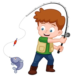 Boy fishing vector